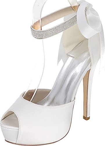 Toe Strap 08E Satin Work Platform Rhinestone EU 3128 Party Ladies 37 Ankle White Bride Bridesmaid Dress Peep Pumps Comfort Comfort Prom Ribbon Wedding OSnvUqdw6