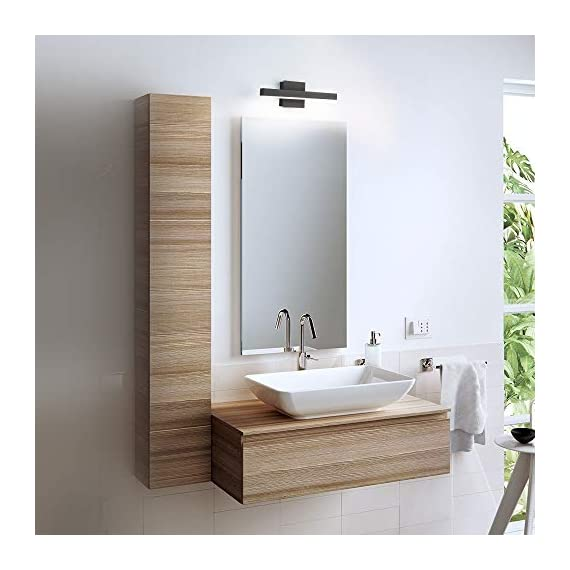 """Joossnwell LED Bathroom Vanity Lighting Fixture Morden Bath Light Bar 15.75inch Black Wall Sconce 9W 4000K - * [NEW DESIGN] Modern bathroom led vanity light fixture, perfect auxiliary lighting for bathroom and bedroom. * [SPECIFICATIONS] Length :15.57"""" for 9W, distance from the wall:3.54"""". Color temperature:4000K, Non-dimmable. * [ADVANTAGE] No dazzling , no glare,easy to install. No Switch or Cord on the light fixture, just connect to the reserved wire directly, square base 4.72"""" suitable for US Junction box standard. - bathroom-lights, bathroom-fixtures-hardware, bathroom - 415pg0M%2BpZL. SS570  -"""