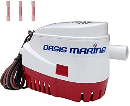 3//4 inch hose outlet Oasis Marine Automatic Submersible Boat Bilge Water Pump 12v 750gph Auto with Float Switch 3 marine heat shrink wire connectors included