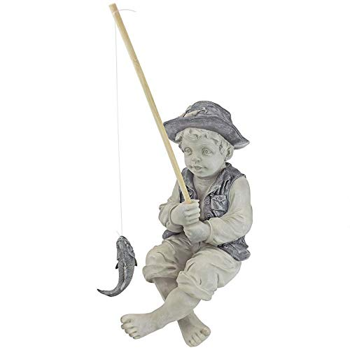 Design Toscano Frederic the Little Fisherman of Avignon Boy Fishing Garden Statue, 15 Inch, Polyresin, Two Tone Stone