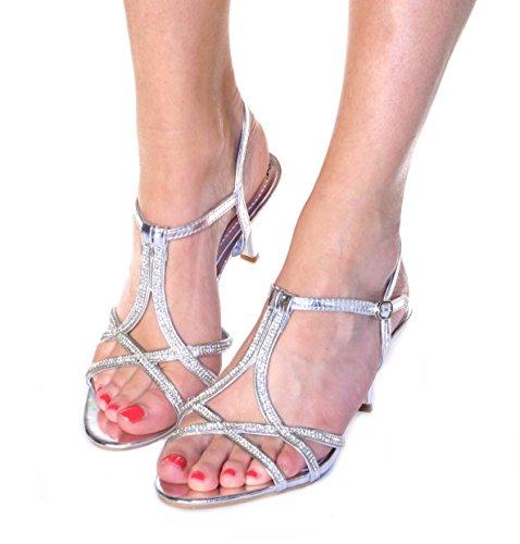 Damen mit Riemchen Heels Ball Party Hochzeit Brautschmuck Sandalen Schuhe UK Größen 3-8 Silber
