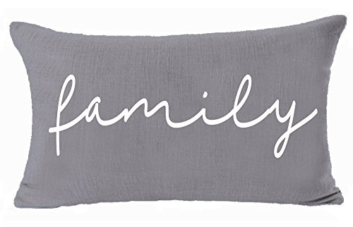 Family Throw Pillow - Andreannie Home Family Cotton Linen Lumbar Throw Pillow Cover Cushion Case Decorative Sofa Room 12x20 inches Both Sides Same Color (Gray)