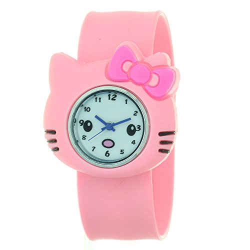 TimerMall Hello Kitty Shape with Pink Silicone Band Quartz Watches