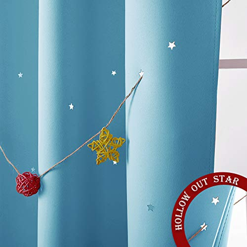 NICETOWN Twinkle Star Curtains for Baby - Kid Sky Wonder Star Cut Out Functional Room Darkening Curtains for Baby's Nursery, 52 by 63-Inch, Teal Blue, 2 Pieces