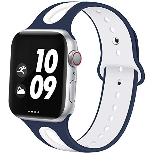EXCHAR Sport Bands Compatible with Apple Watch Band 38mm 40mm Breathable Soft Silicone Strap Replacement Band for iWatch Series 4/3/2/1 for Women and Men M/L Blue White