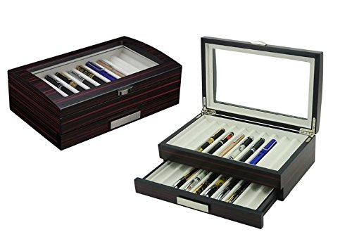 Decorebay Executive Double Drawer Wooden Grain 20 Fountain Pen Collector Organizer Box with Glass Window (Ebony) - Executive 2 Drawer