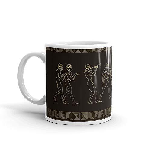 (Ancient Sparta Greece scene on greek pattern 11 Oz White Ceramic)