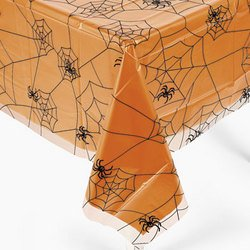 Halloween Spider Web Design Plastic Table Cover 54″ x 108″