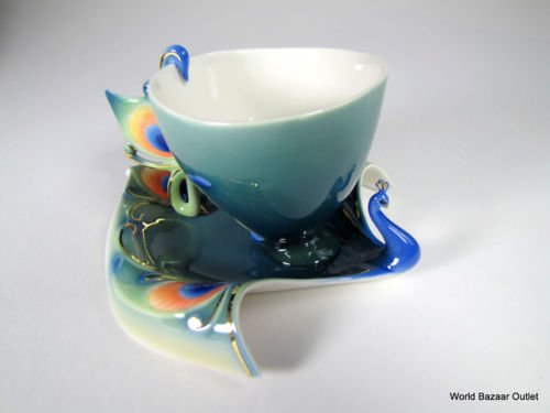 thaisan7 Porcelain Luminescence peacock cup saucer set with spoon