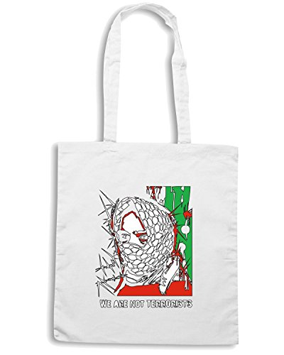 T-Shirtshock - Bolsa para la compra TM0583 we are not terrorist free palestine Blanco