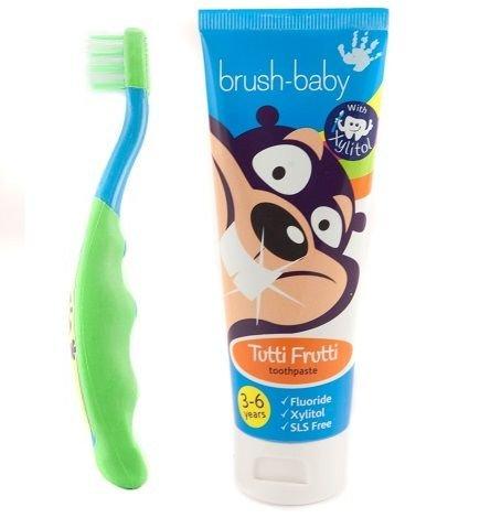 Brush-Baby New pennello-Bambino Dental niñ a,  –  flossbrush y Pasta de Dientes. Verde -flossbrush y Pasta de Dientes. Verde
