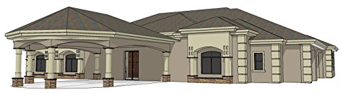 Custom Home Construction Plan Set for a 4,785 sf (livable) Single Story 'Mediterranean' Style home w/ 3 car garage, 3 bedrooms, 2 bathrooms, Living, Great, Dining, Media & Large Kitchen