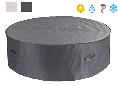 Patio Watcher Patio Furniture Cover Waterproof Outdoor Table Cover Large Round Furniture Set Cover 94 Inches(Grey) (Outdoor Round Patio Furniture)