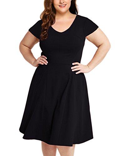 AMZ PLUS Womens Midi Dress Plus Size V Neck Cap Sleeve Wear to Work Casual A-line Dress