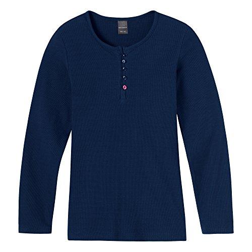 Schiesser Mädchen Schlafanzugoberteil Shirt 1/1, Gr. 152, Blau (dunkelblau 803)