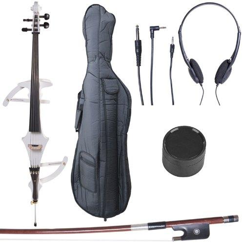 Cecilio 4/4 CECO-4BK Black Metallic Electric Cello with Ebony Fittings in Style 4 (Full Size) Cecilio Musical Instruments 4/4CECO-4BK