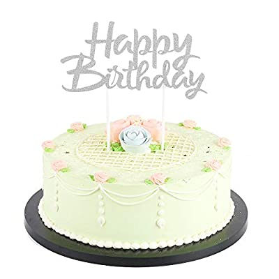 LVEUD Silver Glitter 0-9 Cake Topper Happy Birthday Cake Topper 18th-21th-30th-40th-50th-60th-70th-80th-90th Birthday Party Decoration Supplies Set 21
