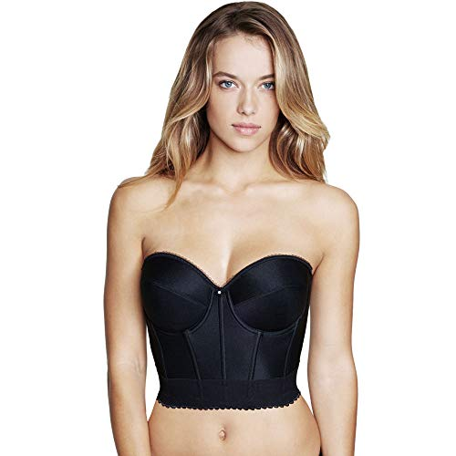 (Dominique Noemi Strapless Longline Bra, 36DD, Black)