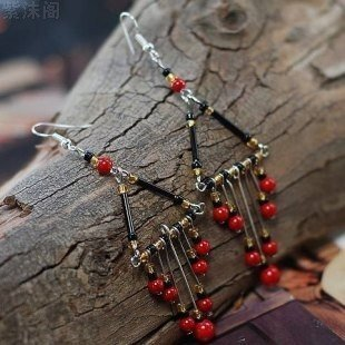 usongs Original national air original handmade Tibetan drape coral earrings stylish atmosphere