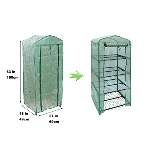 NKTM 4-Tier Mini Greenhouse Replacement Cover,Outdoor Compact Walk-in Greenhouse 27'' Long x 18'' Wide x 63'' High(FRAM NOT INCLUDE) by NKTM (Image #2)