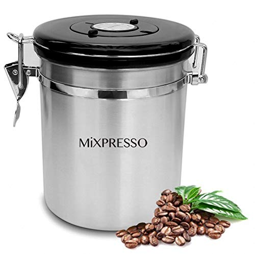 Stainless Steel Coffee Container Airtight Coffee Canister Kitchen Storage Coffee Jar with Date Tracking for All Types of Coffee - by Mixpresso (16 Ounces)