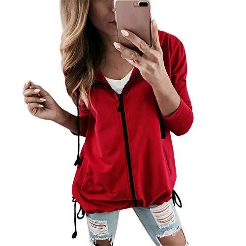 Mode Sport Manteau Femme,Manches Longues Pull Outwear Veste  Capuche Bringbring Rouge
