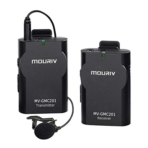 MOURIV MV-GMC201 2.4G Universal Lavalier Wireless Microphone System Lapel Mic with Real-time Monitor for DSLR Camera, Camcorder, IOS iPhone, Android Smartphone Phone, Tablet, Gopro 3,3+, 4 ()