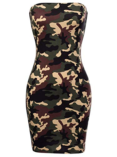 (BEYONDFAB Women's Camouflage Strapless Bodycon Tube Dress Olive Camo L)