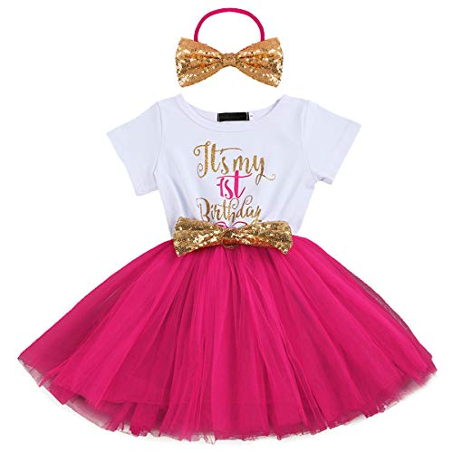 Baby Girls Newborn Christmas Birthday Party Cake Smash Princess Dress up Bowknot Sequin Tulle Tutu Dance Ball Gowns Rose One Year+ Gold Headband ()