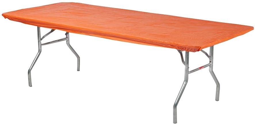 """Kwik-Covers 6' Rectangle Plastic Table Covers 30"""" x 72"""", Bundle of 5 (Orange)"""