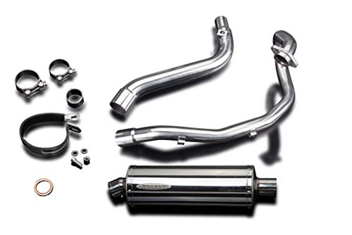 Stainless Steel Oval Silencer - Delkevic Suzuki DR650SE Full Exhaust Stubby 14