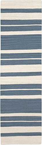 2.5' x 8' Epais Raye Smokey Blue and Beige Reversible Hand Woven Wool Area Throw Rug Runner