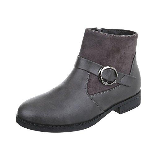 Zapatos para mujer Botas Tacón ancho Botas Chelsea Ital-Design Gris