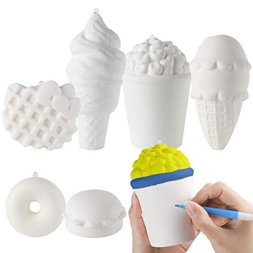 MALLMALL6 6Pcs DIY Slow Rising Jumbo Food Squishy Set-Hamburger Popcorn Donuts Kitty Waffle Ice Cream 2 Creamy Scent Kawaii Soft White Squishy Toys Great Gift as Keychain Phone Straps Bonus