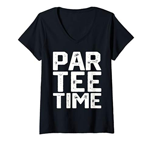 Womens PAR-TEE Time Party Fun Drinking Beer Golf Golfing Gift Funny V-Neck - V-neck T-shirt Womens Golf