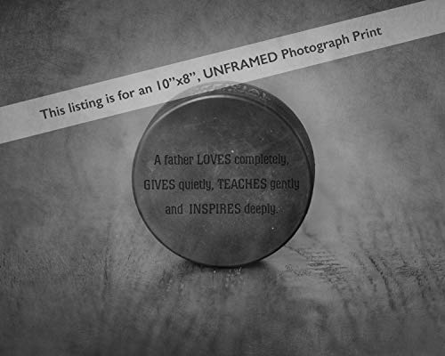 Unique Office Decor Sport Art Hockey Puck Photo Print with Father Quote, Original Dad Gift from Kids ()