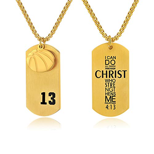 Men's Basketball Player Number 13 Stainless Steel Dog Tag Pendant I Can Do All Things Necklace (Gold)