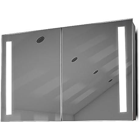 Demist Bathroom Mirror Cabinet With RGB Sensor Internal Shaver K372RGB