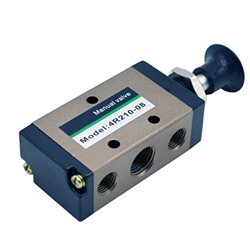 "MAYMII 4R210-085 Way Pneumatic Air Hand Lever Operated Valve Solenoid Valve Port 1/4"" Manual Control Valves"