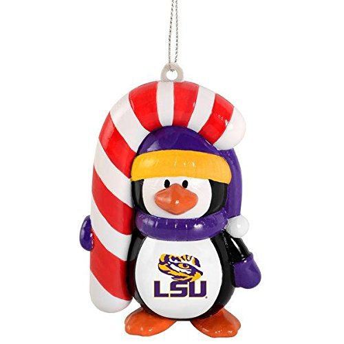 Tigers Candy Cane Ornament - NCAA Lsu Tigers LSU Big Penguin with Candy Cane Ornament