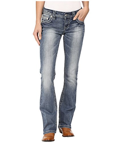 Stetson Women's 818 Contemporary Bootcut with Heavy Contrast Stitch and Flap Back Pocket Blue Jeans 14 X - Back Stitch Blue Jeans Pocket