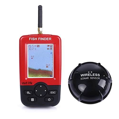 Fish Finder,iGarden Portable Fish Finder Rechargeable & Wireless Sonar Sensor Fishfinder Depth Locator with Fish Size,Water Temperature,Dot Matrix 45m Range Fish Finders And Other Electronics iGarden
