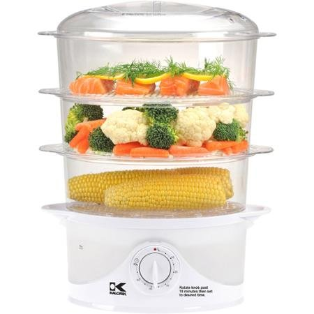 60 Min Timer Control, 3-Tier Food Steamer, White
