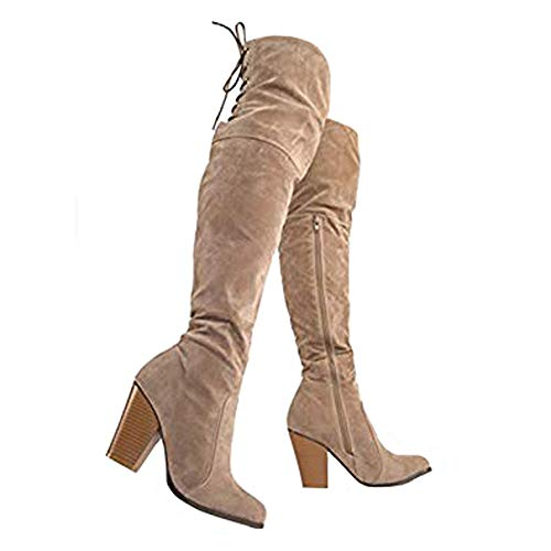 J. Adams Buffy Thigh Highs - Over The Knee Block Heel Lace Up Thigh High Boots Taupe