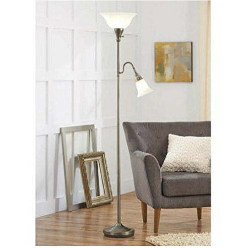 Floor Lamp with 3 Way Lighting and Task Lamp For Living Room Reading Corner - Antique Nickel Finish