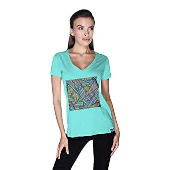 Creo Abstract 02 Retro T-Shirt For Women - S, Green