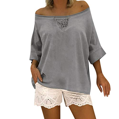 - Women's Off Shoulder Tunic Tops Loose Batwing Sleeve Blouse Casual Summer T-Shirt Plus Size Gray