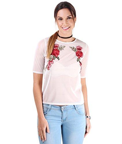 KRISP Top Mujer Verano Transparente Bordado Flores Camiseta Estampada Crema