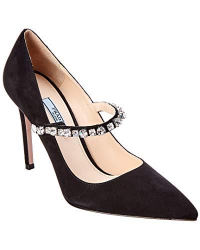 Prada 100 Crystal Embellished Pointy-Toe Suede Pump, 39, Black