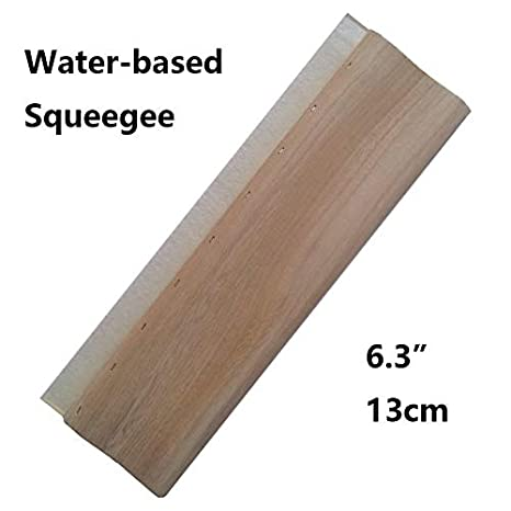 INTBUYING Screen Printing Squeegee Ink Squeegee Scraper 6.3 inches Long Wooden Scraper 65 Durometer 4 inches Wide